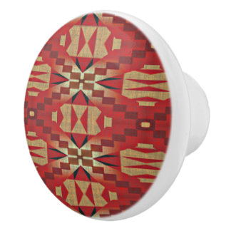 Red Brown Beige Orange Eclectic Ethnic Art Ceramic Knob