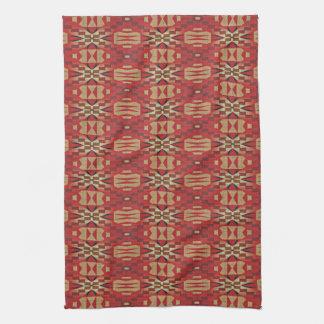 Red Brown Beige Orange Eclectic Ethnic Art Kitchen Towel