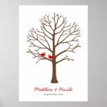 Red Brown Birds Fingerprint Tree Wedding