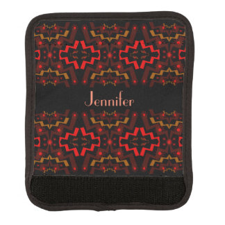 Red Brown Black Abstract Luggage Handle Wrap