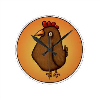 Red Brown Chicken Standing Tall Round Clock