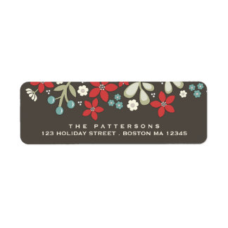 Red | Brown Christmas Poinsettia Address Label