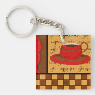 Red Brown Coffee Checkerboard Art Customizable Double-Sided Square Acrylic Keychain