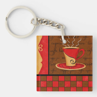 Red Brown Coffee Cup Checkerboard Art Customizable Double-Sided Square Acrylic Keychain