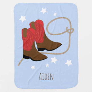 Red & Brown Cowboy Boots & Rope, Personalized Receiving Blankets