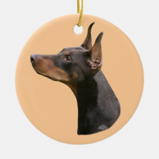 Red/Brown Doberman Pinscher head Ornament