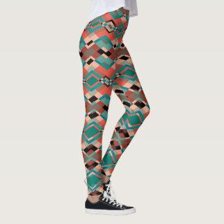 Red Brown Geometric Aztec Pattern Leggings