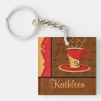 Red Brown Gold Espresso Coffee Art Custom Name Double-Sided Square Acrylic Keychain