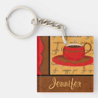 Red Brown Gold Whimsy Coffee Cup Art Custom Name Double-Sided Square Acrylic Keychain
