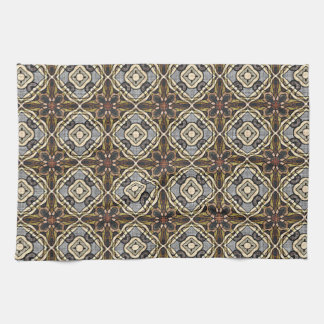 Red Brown Gray Ochre Hip Orient Bali Art Motif Kitchen Towel