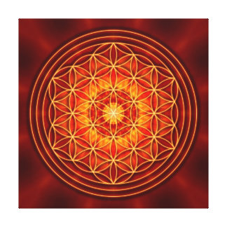 red brown orange yellow mandala with flower of lif canvas print