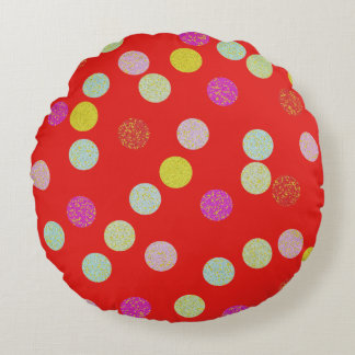 Red/Brown Round Spotted Pillow