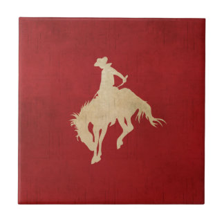 Red Brown Vintage Cowboy Tile