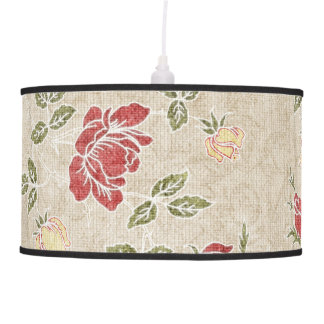Red Brown Yellow Cottage Floral Pendant Lamp