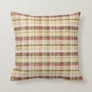 Red Brown Yellow Cottage Plaid Throw Pillow