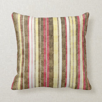 Red Brown Yellow Cottage Striped Throw Pillow
