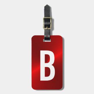 Red Brushed Metallic Monogram Initial Luggage Tag