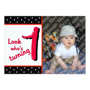 red bubble letter first birthday celebration invitation