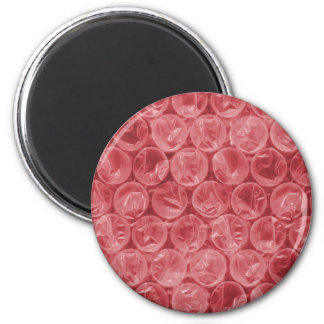 Red bubble wrap pattern 2 inch round magnet