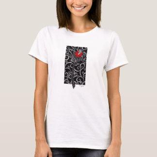 red bud on black swirl T-Shirt