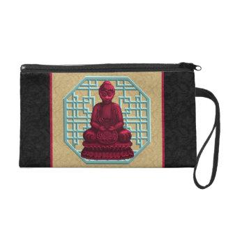 Red Buddha Pixel Art Wristlet Purse