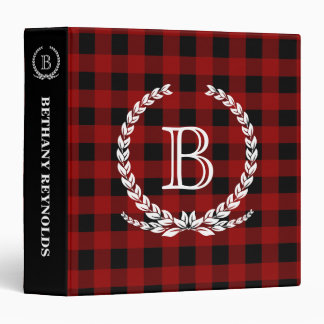 Red Buffalo Check Monogram Binders