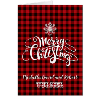 Red Buffalo Merry Christmas Snowflake Custom Card