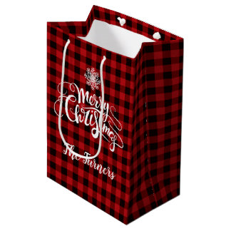 Red Buffalo Merry Christmas Snowflake Monogram Medium Gift Bag