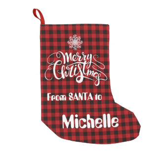 Red Buffalo Merry Christmas Snowflake Monogram Small Christmas Stocking