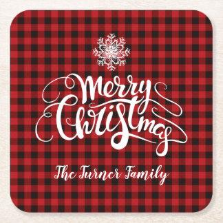 Red Buffalo Merry Christmas Snowflake Monogram Square Paper Coaster