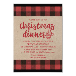 Red Buffalo Plaid Christmas Dinner Card