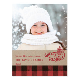 Red Buffalo Plaid Christmas Photo Postcard