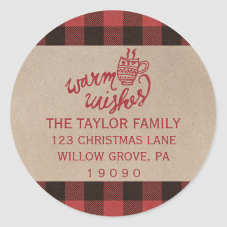 Red Buffalo Plaid Christmas Return Address Classic Round Sticker