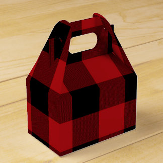 Red Buffalo Plaid Modern Rustic Country Party Favor Box
