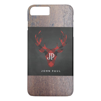 Red Buffalo Plaid Monogram Deer Head iPhone 8 Plus/7 Plus Case