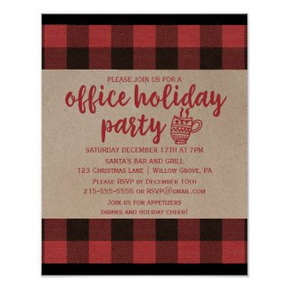 Red Buffalo Plaid Office Holiday Party Invitation Poster