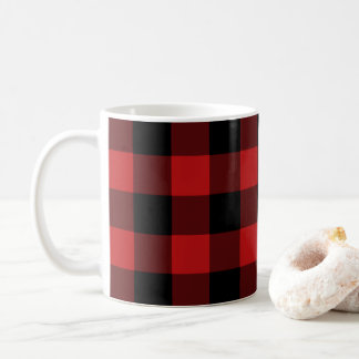 Red Buffalo Plaid Print Pattern Coffee Mug