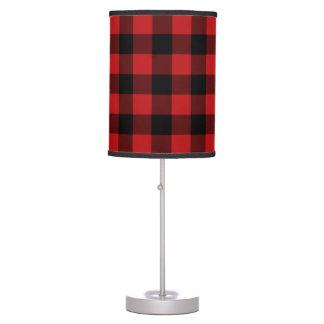 Red Buffalo Plaid Print Pattern Table Lamp