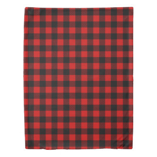 Red Buffalo Plaid Rustic Winter Pattern Duvet Cover