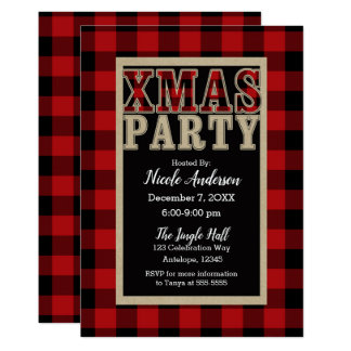 Red Buffalo Plaid Rustic XMAS Christmas Party Card