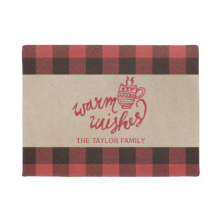 Red Buffalo Plaid Warm Wishes Christmas Doormat