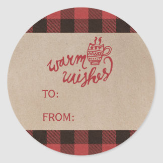 Red Buffalo Plaid Warm Wishes Christmas Name Classic Round Sticker