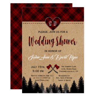 Red Buffalo Plaid Wedding Couple Shower Invite