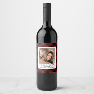 Red Buffalo Plaid Wedding Favor Photo Wine Labels