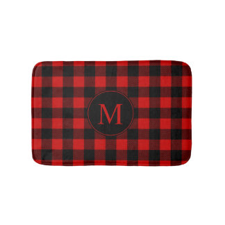 Red Buffalo Plaid with Custom Monogram Bath Mat