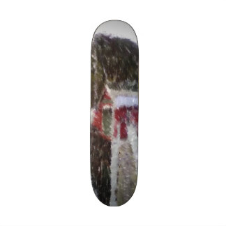 Red building by the sea skate deck