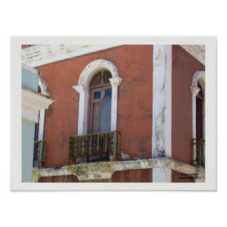 Red Building in Old San Juan, Puerto Rico Poster