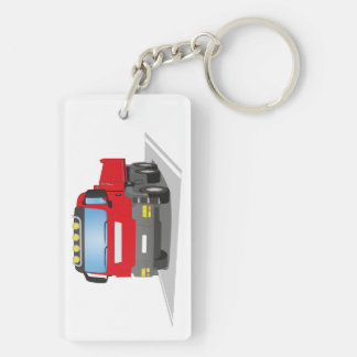 red building sites truck Double-Sided rectangular acrylic keychain