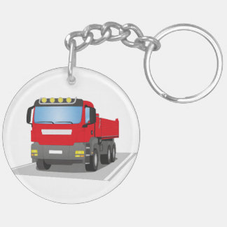 red building sites truck keychain