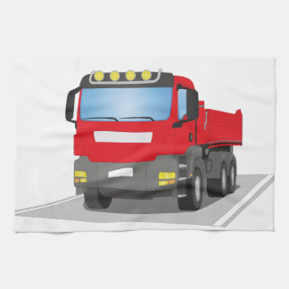 red building sites truck kitchen towel
